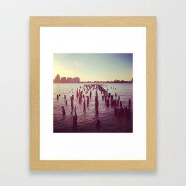 Dock at the Hudson Framed Art Print
