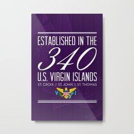 Established in the 340/USVI - Purple Metal Print
