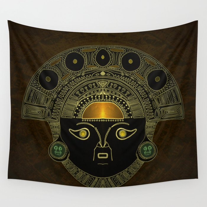 God Sun mask (INTI) Wall Tapestry