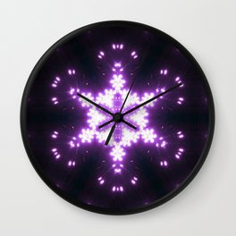 Burning Violet Snowflake Wall Clock