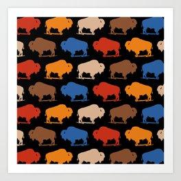 Colorful Buffalo Bison Pattern 277 Art Print