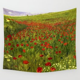 Red Poppy Fields Landscape Painting by Pal Szinyei-Merse Wall Tapestry