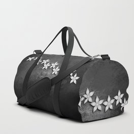 Spectacular silver flowers on black grunge texture Duffle Bag