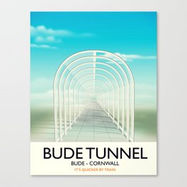 Bude Tunnel - Cornwall travel poster Canvas Print