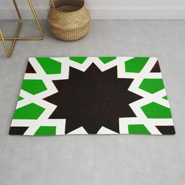 Oriental andalusia geometric ornament pattern in green Rug