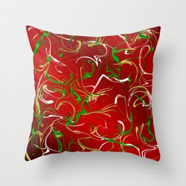 Red modern chic pattern with colored circles and vibrations Throw Pillow