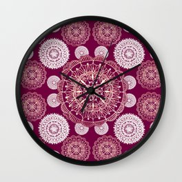 Berry and Bright Patterned Mandalas Wall Clock