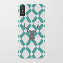 Deer - Abstract geometric pattern - blue and white. iPhone Case