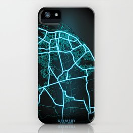 Grimsby, England, Blue, White, Neon, Glow, City, Map iPhone Case