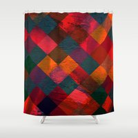 fabric Shower Curtains featuring Grid fabric by Tony Vazquez