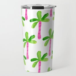 Watercolor Palm Trees in Pink Travel Mug