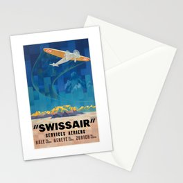 1925 Swissair Air Services Airline Poster Stationery Cards