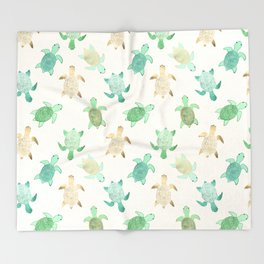 Gilded Jade & Mint Turtles Throw Blanket