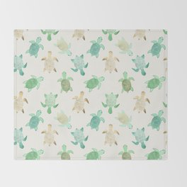 Gilded Jade & Mint Turtles Throw Blanket