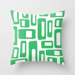 Retro Mid Century Modern Abstract Pattern 336 Green Throw Pillow