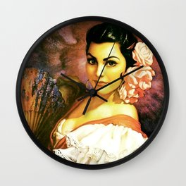 Jesus Helguera Painting of a Mexican Calendar Girl with Fan Wall Clock