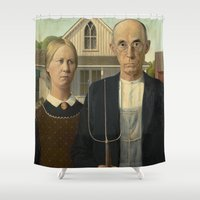 dentist Shower Curtains featuring American Gothic by Grant Wood by Elegant Chaos Gallery