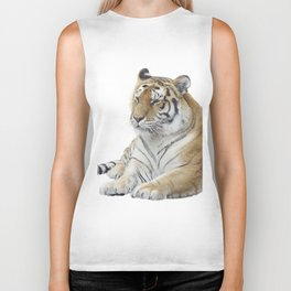 Digital Painting Of tiger portrait isolated on white background Biker Tank