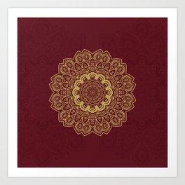 Mandala in Gold on Dark Red Art Print