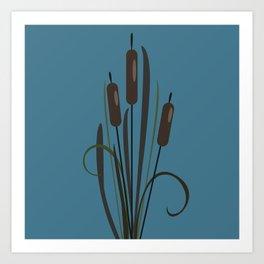 Bush of Swamp Reed on a Lake Art Print
