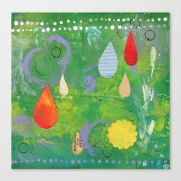 Raindrops in Green Canvas Print