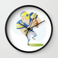 football Wall Clocks featuring Football by Dues Creatius