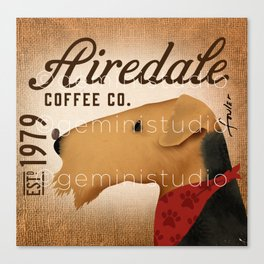 Airedale dog Coffee company by Stephen Fowler Canvas Print