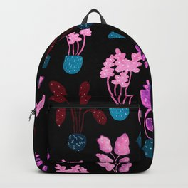 Painted Postmodern Potted Plants in Black Backpack