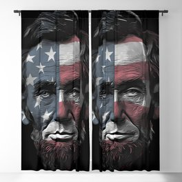 President Abraham Abe Lincoln with USA Flag Overlay Blackout Curtain