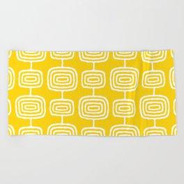 Mid Century Modern Atomic Rings Pattern Yellow Beach Towel