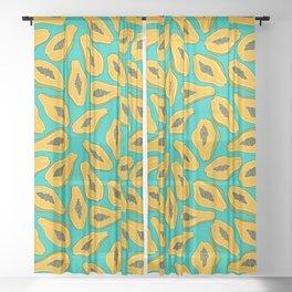 Papaya slices on turquoise Sheer Curtain