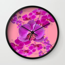 Modern Purple Moth Orchids Coral Color Wall Clock