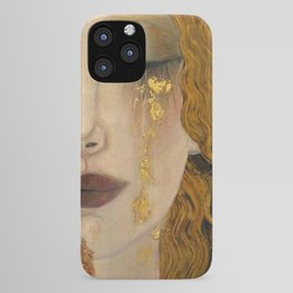 Golden Tears (Freya's Heartache) portrait painting by Gustav Klimt iPhone Case