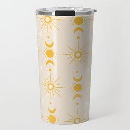 Yellow Sun & Moon Pattern Travel Mug