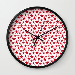 Red stars on white background illustration Wall Clock