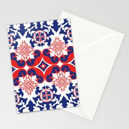 Asian red and blue pattern Stationery Cards
