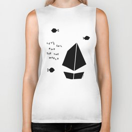 Nautical Illustration Summer  - Let's Sail And See The World no.4 - Black and White Scandinavian Biker Tank