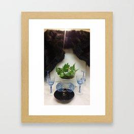 Mink 'n Classy Blue Wine Glasses Framed Art Print