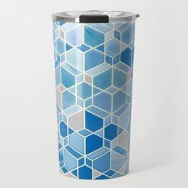 Cubes & Diamonds in Blue & Grey  Travel Mug