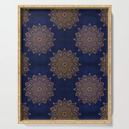 N253 - Indigo Royal Blue Heritage Oriental Moroccan Golden Floral Artwork Serving Tray