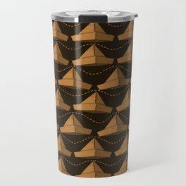 Paper Hat Pattern | Dark Golden Travel Mug