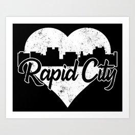 Retro Rapid City South Dakota Skyline Heart Distressed Art Print