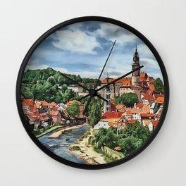 0M-020 - Historic centre of Cesky Krumlov, Czech city tower scenery, Travel art, Wall Clock