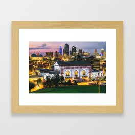 Kansas City Skyline Architectural Cityscape at Dusk Framed Art Print