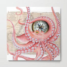 Red Octopus Vintage Map Compass Metal Print