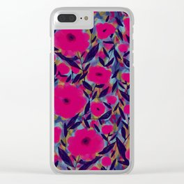 Layered Leaf Floral Fuchsia Clear iPhone Case