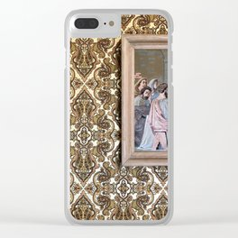 Estate Sale Last Supper: #jesus #vintagewallpaper #pattern Clear iPhone Case