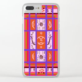Curvy Plaid Abstract Feminine Folk Art by Kristie Hubler Clear iPhone Case