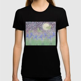 luna moths around the moon with starlit irises T-shirt