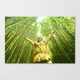 Eco-friendly travel hiker woman hiking in Bamboo forest - sustainable living happy Canvas Print